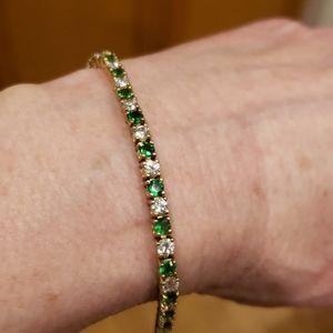 "Sterling Silver Tennis Bracelet 7.25"" Safety"